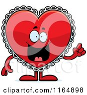 Cartoon Of A Red Doily Valentine Heart Mascot With An Idea Royalty Free Vector Clipart