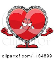 Cartoon Of A Mad Red Doily Valentine Heart Mascot Royalty Free Vector Clipart