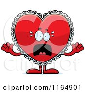 Cartoon Of A Scared Red Doily Valentine Heart Mascot Royalty Free Vector Clipart