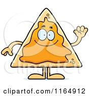 Cartoon Of A Waving Nacho Mascot Royalty Free Vector Clipart
