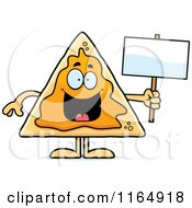 Cartoon Of A Nacho Mascot Holding A Sign Royalty Free Vector Clipart