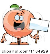 Cartoon Of A Happy Peach Mascot Holding A Sign Royalty Free Vector Clipart by Cory Thoman