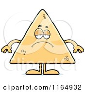 Cartoon Of A Depressed Tortilla Chip Mascot Royalty Free Vector Clipart