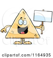 Cartoon Of A Tortilla Chip Mascot Holding A Sign Royalty Free Vector Clipart