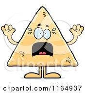Cartoon Of A Scared Tortilla Chip Mascot Royalty Free Vector Clipart