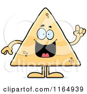 Cartoon Of A Tortilla Chip Mascot With An Idea Royalty Free Vector Clipart