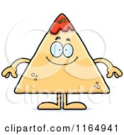 Cartoon Of A Happy TORTILLA Chip With Salsa Mascot Royalty Free Vector Clipart by Cory Thoman