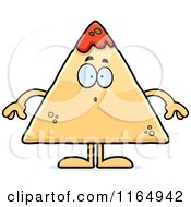 Cartoon Of A Surprised TORTILLA Chip With Salsa Mascot Royalty Free Vector Clipart