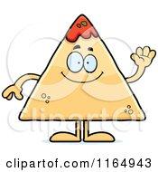 Cartoon Of A Waving TORTILLA Chip With Salsa Mascot Royalty Free Vector Clipart by Cory Thoman