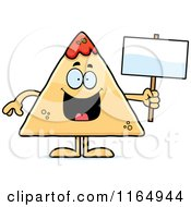 Cartoon Of A TORTILLA Chip With Salsa Mascot Holding A Sign Royalty Free Vector Clipart by Cory Thoman