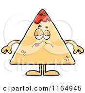 Cartoon Of A Sick TORTILLA Chip With Salsa Mascot Royalty Free Vector Clipart