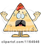 Cartoon Of A Scared TORTILLA Chip With Salsa Mascot Royalty Free Vector Clipart