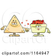 Cartoon Of A TORTILLA Chip Holding Hands With Salsa Royalty Free Vector Clipart by Cory Thoman