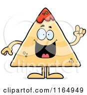 Cartoon Of A TORTILLA Chip With Salsa Mascot With An Idea Royalty Free Vector Clipart by Cory Thoman