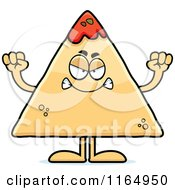Cartoon Of A Mad TORTILLA Chip With Salsa Mascot Royalty Free Vector Clipart