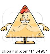 Cartoon Of A Depressed TORTILLA Chip With Salsa Mascot Royalty Free Vector Clipart