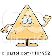 Cartoon Of A Waving Tortilla Chip Mascot Royalty Free Vector Clipart