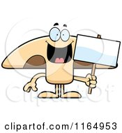 Cartoon Of A Mushroom Mascot Holding A Sign Royalty Free Vector Clipart by Cory Thoman