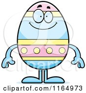 Cartoon Of A Happy Easter Egg Mascot Royalty Free Vector Clipart