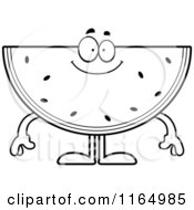 Cartoon Clipart Of A Happy Watermelon Mascot Vector Outlined Coloring Page by Cory Thoman
