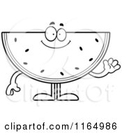 Cartoon Clipart Of A Waving Watermelon Mascot Vector Outlined Coloring Page by Cory Thoman