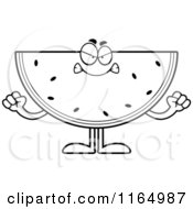 Cartoon Clipart Of A Mad Watermelon Mascot Vector Outlined Coloring Page by Cory Thoman