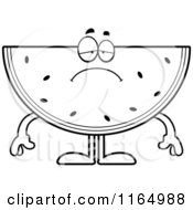 Cartoon Clipart Of A Depressed Watermelon Mascot Vector Outlined Coloring Page by Cory Thoman
