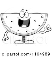 Cartoon Clipart Of A Watermelon Mascot With An Idea Vector Outlined Coloring Page by Cory Thoman