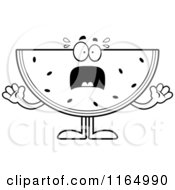 Cartoon Clipart Of A Screaming Watermelon Mascot Vector Outlined Coloring Page by Cory Thoman