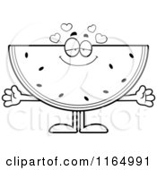 Cartoon Clipart Of A Loving Watermelon Mascot Vector Outlined Coloring Page by Cory Thoman