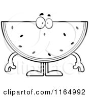 Cartoon Clipart Of A Surprised Watermelon Mascot Vector Outlined Coloring Page by Cory Thoman