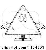 Cartoon Clipart Of A Surprised Tortilla Chip Mascot Vector Outlined Coloring Page