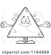 Cartoon Clipart Of A Loving Tortilla Chip Mascot Vector Outlined Coloring Page