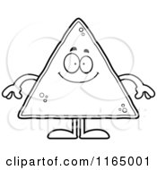 Cartoon Clipart Of A Happy Tortilla Chip Mascot Vector Outlined Coloring Page
