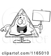 Cartoon Clipart Of A Nacho Mascot Holding A Sign Vector Outlined Coloring Page