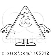 Cartoon Clipart Of A Happy TORTILLA Chip With Salsa Mascot Vector Outlined Coloring Page