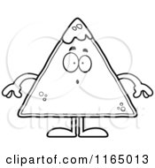 Cartoon Clipart Of A Surprised TORTILLA Chip With Salsa Mascot Vector Outlined Coloring Page
