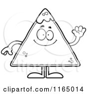 Cartoon Clipart Of A Waving TORTILLA Chip With Salsa Mascot Vector Outlined Coloring Page