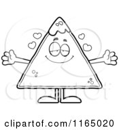 Cartoon Clipart Of A Loving TORTILLA Chip With Salsa Mascot Vector Outlined Coloring Page