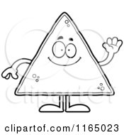Cartoon Clipart Of A Waving Tortilla Chip Mascot Vector Outlined Coloring Page