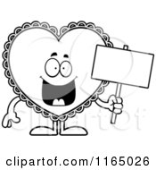 Cartoon Clipart Of A Doily Valentine Heart Mascot Holding A Sign Vector Outlined Coloring Page