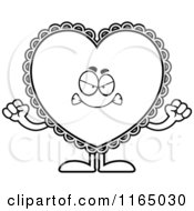 Cartoon Clipart Of A Mad Doily Valentine Heart Mascot Vector Outlined Coloring Page