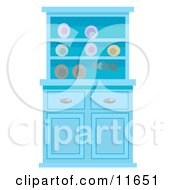 Blue Buffet Hutch With Plates Clipart Illustration by AtStockIllustration