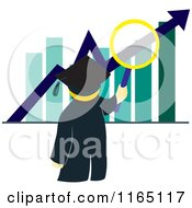 Cartoon Of A Graduate Examining A Bar Graph Royalty Free Vector Clipart by Cherie Reve
