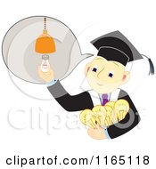 Cartoon Of A Graudate Boy With Many Ideas Royalty Free Vector Clipart by Cherie Reve