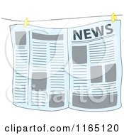 Cartoon Of A Newspaper Hanging From A Wire Royalty Free Vector Clipart