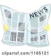 Cartoon Of A Pair Of Hands Holding A Newspaper Royalty Free Vector Clipart