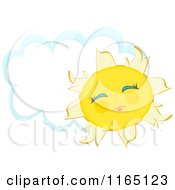 Cartoon Of A Cheerful Sun With A Cloud Frame Royalty Free Vector Clipart by bpearth