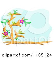 Floral Tree And Blue Copyspace