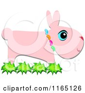 Cartoon Of A Pink Bunny Wearing Jelly Beans Royalty Free Vector Clipart by bpearth